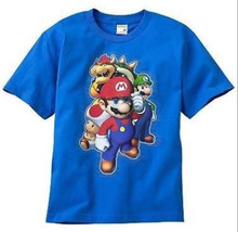 BOYS 14 / 16 - Nintendo - Super Mario, Luigi, Bowser & Toad Blue T-SHIRT - $14.85