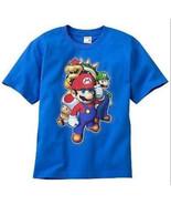 BOYS 14 / 16 - Nintendo - Super Mario, Luigi, Bowser & Toad Blue T-SHIRT - $7.42