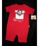 BOYS 0-3  MONTHS -  Disney - Mickey Mouse Sent With Love PLAYSUIT - $7.92