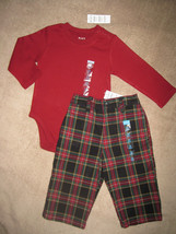 BOYS 12 MONTHS - Children's Place -  Red Bodyshirt & Red/Navy Plaid Pants - $11.00