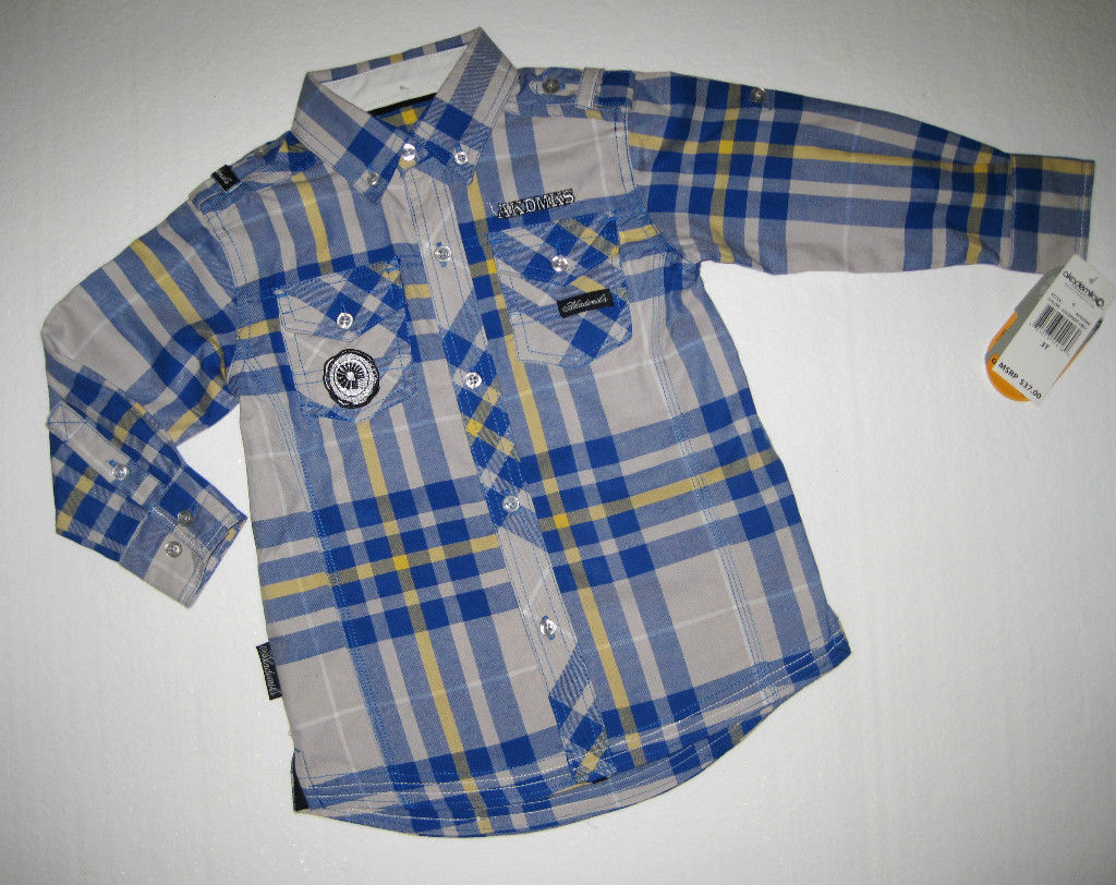 BOYS 2T - Akademiks Gray & Blue, Adjustable Sleeves, BUTTON-DOWN  SHIRT