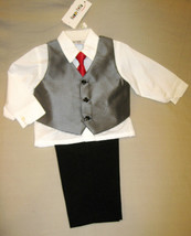 BOYS 2T - Happy Fella - Dressy White, Gray & Black SHIRT, TIE, VEST & PA... - $20.79