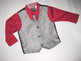 BOYS 3T - TFW - Dressy Silver, Wine & Black SHIRT, TIE & VEST SET - $21.30