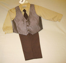 BOYS 3T - Happy Fella - Dressy Tan, Gray & Brown SHIRT, TIE, VEST & PANT... - $20.75