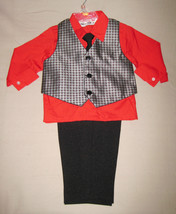 BOYS 2T - Happy Fella - Dressy Red, Gray & Black SHIRT, TIE, VEST & PANT... - $20.79
