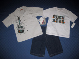 BOYS 4 OR 5 - Kids Headquarters - Rocking Rebel  Rock Star 3-pc SHORTS SET - $17.82