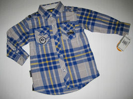 BOYS 2T - Akademiks Gray & Blue, Adjustable Sleeves, BUTTON-DOWN  SHIRT image 4