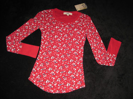 GIRLS 10 / 12 - Lei - L.e.i. Pullover Red Calico Print  KNIT TOP - $7.92