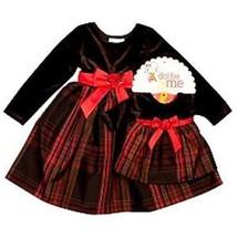 GIRLS 2T & 18-IN DOLLS - Dollie & Me Brown Velvet & Tafetta Plaid DRESSY... - $27.62