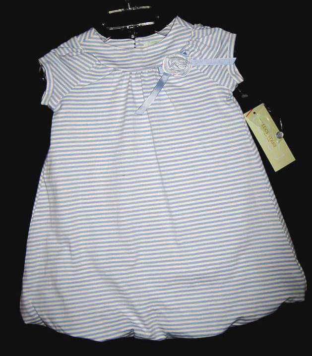 GIRLS  4T - LUCY SYKES -  Blue/White Stripe DESIGNER DRESS