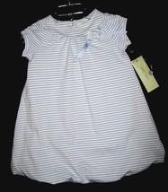 GIRLS  4T - LUCY SYKES -  Blue/White Stripe DESIGNER DRESS image 1
