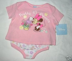 Girls 6-9 Months - Disney - Minnie Mouse Pretty Flowers Diaper Set - $9.00