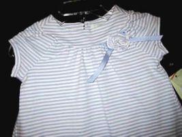 GIRLS  4T - LUCY SYKES -  Blue/White Stripe DESIGNER DRESS image 2