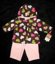GIRLS 3 MONTHS - Carter's Cuddly Cute - Pink & Hearts on Brown FLEECE PL... - $13.86