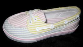 GIRLS TODDLER 9 - Carter's Pastel Seersucker Stripe SLIP-ON SHOES - $20.00