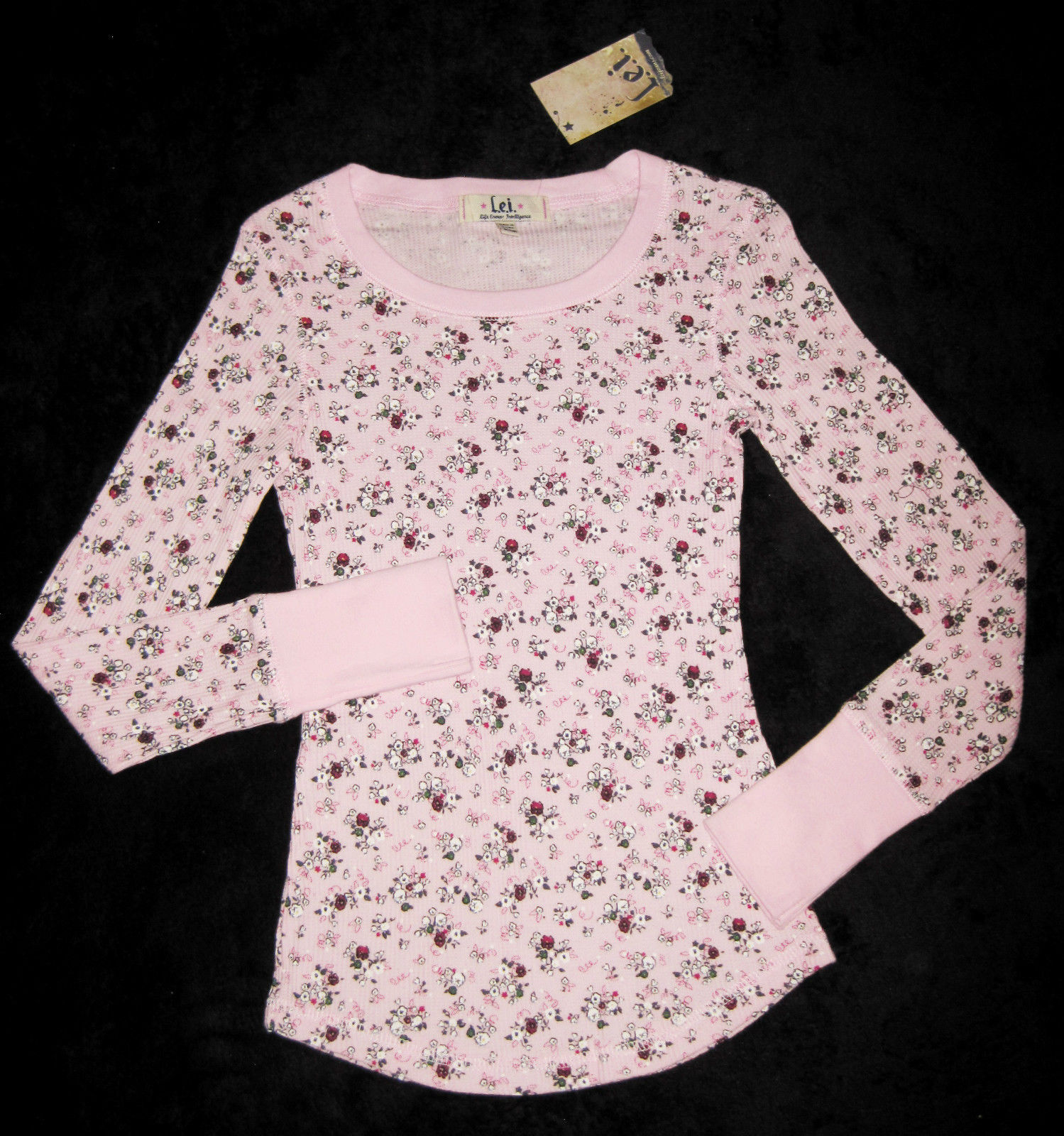 GIRLS 7 / 8 - Lei - L.e.i. Pullover Pink Calico Print  KNIT TOP