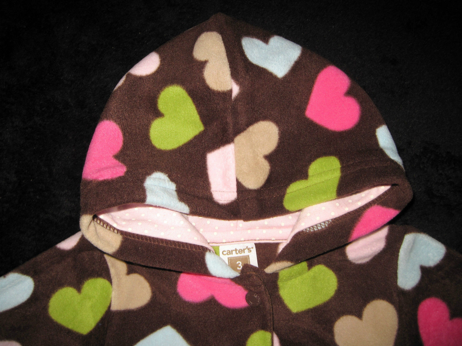 GIRLS 3 MONTHS - Carter's Cuddly Cute - Pink & Hearts on Brown FLEECE PLAYSET