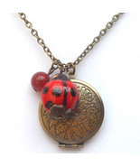 Antiqued Brass Honey Jade Porcelain Ladybug Loc... - $13.99