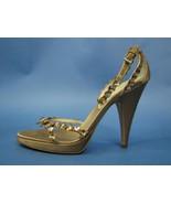 Prada Jeweled Strappy Open-Toe Ankle Strap Pumps Bronze Satin Dress Heel... - $264.59