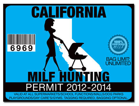 Milf hunting permit funny license decal sticker toyota jdm for California 1 day fishing license