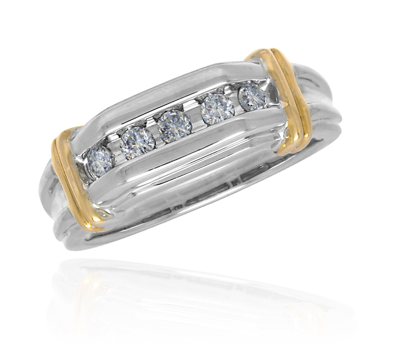 14 K White and Yellow Gold 0.40 Cttw Round Diamond Mens Ring