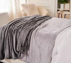 """Berkshire S/2 60"""" x 80"""" Super-Oversized Velvet Soft Throws  Grey   BD2 - $53.34"""