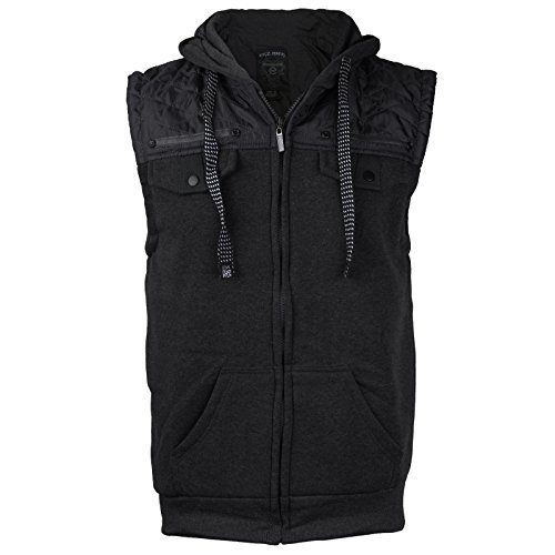 EKZ Men Casual Zip Up Hooded Sports Fashion Vest EK1645VK (Medium, Black)