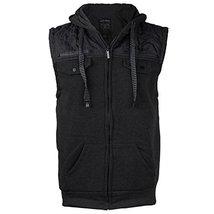 EKZ Men Casual Zip Up Hooded Sports Fashion Vest EK1645VK (Medium, Black)