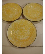 3 Stangl Town and Country Yellow Bread Plates Saucers Spongeware Hand Pa... - $24.70