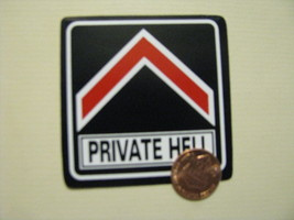Hand made Decal sticker PRIVATE HELL biker Quad Construction ATV hard hat - $19.98