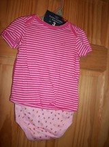 Faded Glory Baby Clothes 6M-9M Newborn Short Outfit Shirt Strawberry Bod... - $14.24