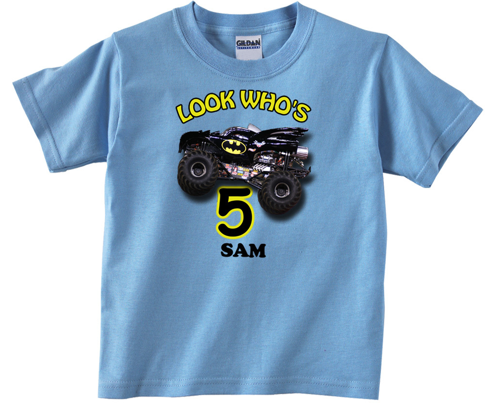 Batman Monster Truck Personalized Light Blue Birthday Shirt for sale  USA