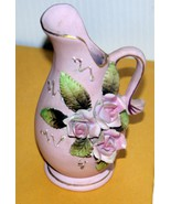 Porcelain Pitcher in Pink w/ Beautiful 3D Roses and Leaves. SIMPLY STUNNING - $8.44