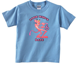 Pink Panther #2  Personalized Light Blue Birthday Shirt - $16.99+