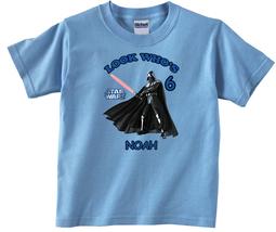 Star Wars Darth Vader Personalized Light Blue Birthday Shirt - $16.99+