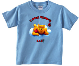 Winnie the Pooh Personalized Light Blue Birthday Shirt - $16.99+
