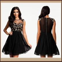 Black Layerd Chiffon Skater Dress with Gold Sequin Paisley Swirl and Voil Bodice