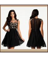 Black Layerd Chiffon Skater Dress with Gold Sequin Paisley Swirl and Voi... - $49.95