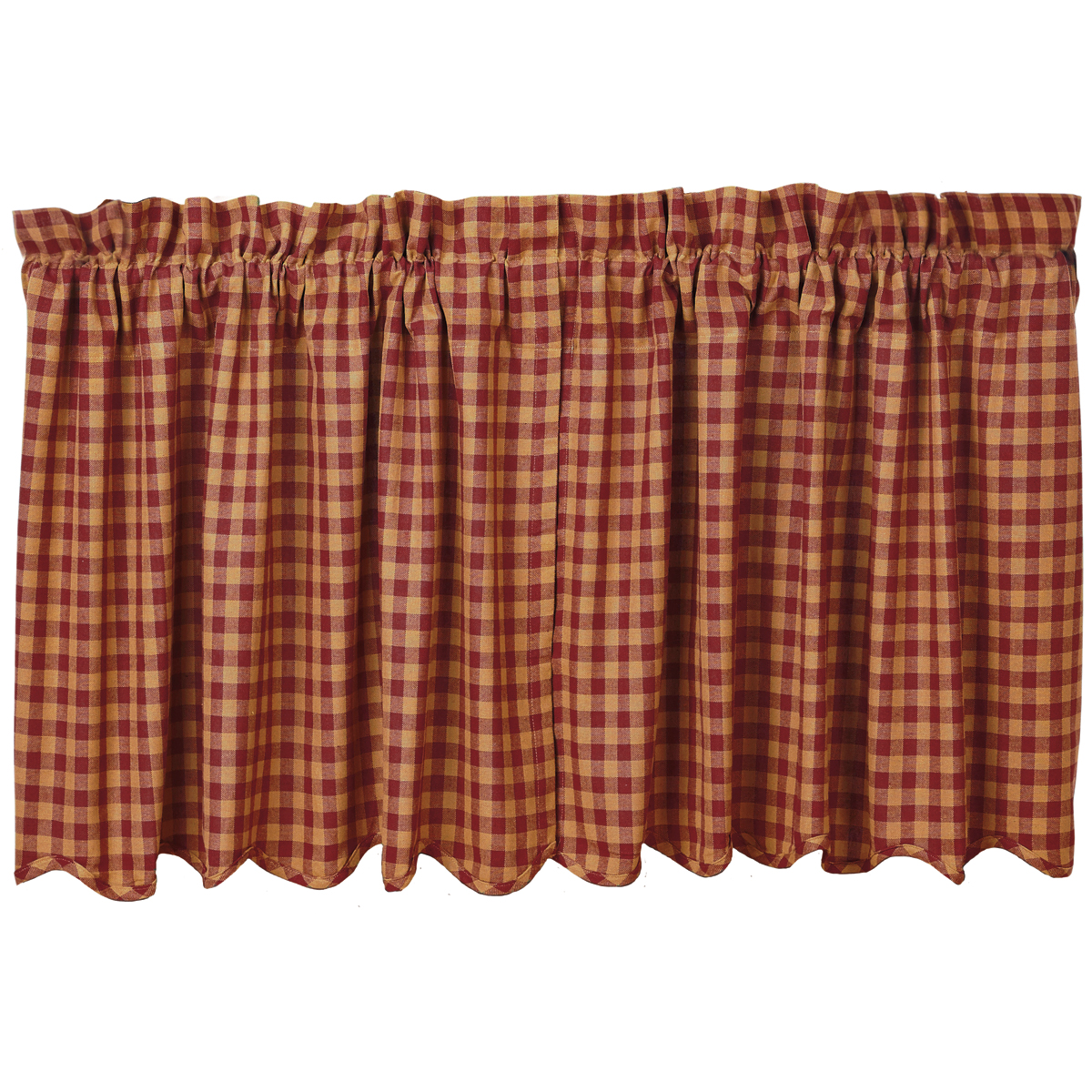 BURGUNDY CHECK Scalloped Tier - Set of 2 - 24x36 - Burgundy/Tan - VHC Brands