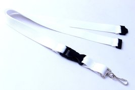 White Polyester Strap Solid Color Breakaway Lanyard Id Badge Mobile Key ... - $6.99