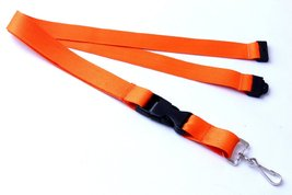 Orange Polyester Strap Solid Color Breakaway Lanyard Id Badge Mobile Key... - $6.99
