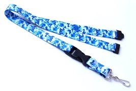 Polyester Strap Blue Camouflage Breakaway Lanya... - $6.99