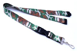 Polyester Strap Green Camouflage Breakaway Lanyard Id Badge Flat Mobile ... - $6.99