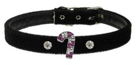 Mirage Pet Products Purple Candy Cane Charm Collar for Dogs, 10-Inch, Black Velv - $16.32
