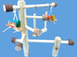 Wood cage top play gym-twin mount-with swing, toys,hand made - £11.58 GBP
