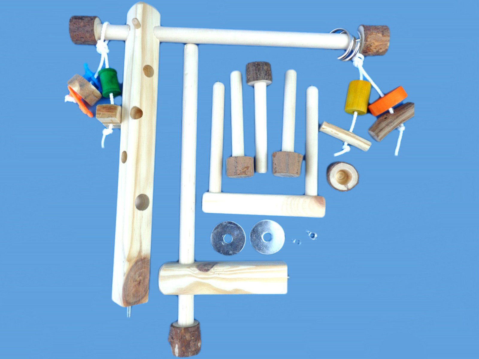 Wood cage top play gym-twin mount-with swing, toys,hand made