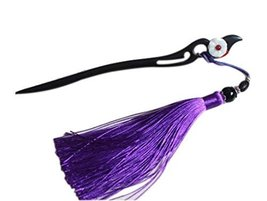 Classical Style Wooden Hairpin Clothing Accessories, Purple Tassel