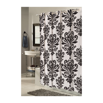 EZ-ON Beacon Hill Polyester Shower Curtain in Black on White 1301-SCEZ-BH-16 - $28.48
