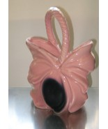 Vintage Cameron Clay Art Pottery Basket With Handle Planter Pink & Black... - $65.00