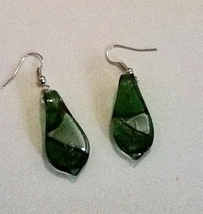 Green Blown Glass Dangle Earrings - $4.50